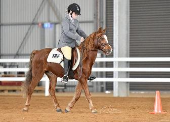 Finn, ridden by Ella Leeuwen in the Hunt Seat Equitation class