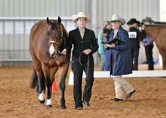 Julie Roberts with FQH Ima Little Rusty, with Judge Connie Barry