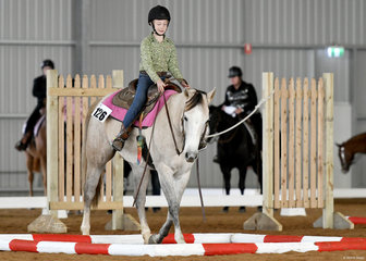 Willow Young competing in the trail class riding Electric Dais