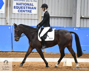 Bridie Brosnan riding Action Kosmos placed third in the SPPHAV Novice State Dressage Championship. Action Kosmos was breed in New Zealand and won $123,234 on the track.