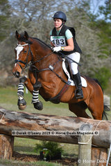 "Brittany Williams placed 3rd in the EvA95 Section A riding ""KPH Jack Be Nimble"" with a final score of 36.1"