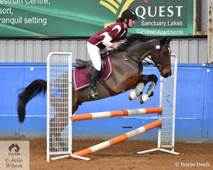 Jenny Phillips and Red Sky At Night jumped well to win the Open AM5 with two good clear rounds.