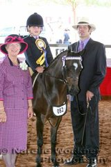 Reserve Champion Mini Childs Pony 'Fairfield Park Stardom' exhibited by Douglas Family with judge Jill Grant