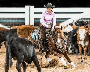 New Non Pro Hall of Fame inductee Lynda MacCallum and 'Metallic Storm' in the first Go Round of the Non Pro Derby