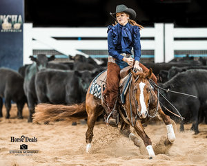 Tori Rafton and 'Calinda Drivin Miz Dainty' in the first Go Round of the Non Pro Futurity