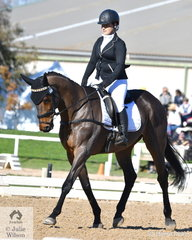 Riley Perry-Parmenter is pictured aboard her, 'Playing The Field' during the dressage phase of the Off The Track CCI2*-L.