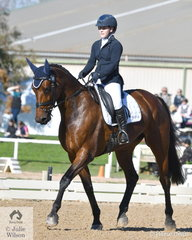 Successful young Queensland rider, Madeline Wilson is pictured aboard her 17.2hh mare, 'Annie Jane' by Yalambis Carpino Z during the dressage phase of the Off The Track CCI2*-L.