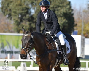 Dean Morris from Queensland looks delighted with his, 'Shaabam' after their Off The Track CCI2*-L dressage test.