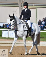 Amelia Fitzgerald is another Queensland rider enjoying the Melbourne winter sunshine. She is pictured aboard her, 'Finch Farm Mojo' by Finch Farm Nikko during the dressage phase of the Off The Track CCI2*-L.