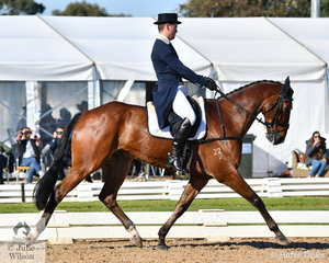 Successful Victorian rider, Andrew Cooper is pictured aboard Darren Wilson's, 'Oaks Onyx' during the dressage phase of the Pryde's Easifeeds CCI4*-L.