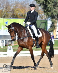 Matthew Gaske is pictured aboard his elegant Royal Hit gelding, 'Thymes Too' during the dressage phase of the Pryde's Easifeeds CCI4*-L. The Four Star field is close and tomorrow will no doubt see some changes in the leader board.