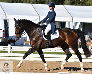 Tanya Schmidt from Queensland is pictured riding her 'Laurentino' by APH Rocardo during the dressage phase of the Pryde's Easifeeds CCI4*-L.