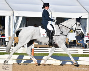 Rebekah Italiano from Victoria sits just out of the Pryde's Easifeeds CCI4*-L top ten after the dressage phase riding, 'ESB Irish Patience'.