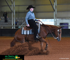 Kelsie Moyce and her horse Wiskey On The Rocks perform a great run in the Youth 14-18 class at the Pacific Coast Reining Spectacular held at the Gatton Equestrian Centre, QLD.