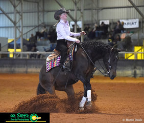 Completing the Youth class at the Pacific Coast Reining Spectacular, Josie Wippell and her horse Sunnysprings Ray Of Acre, close the class off with a great sliding stop.