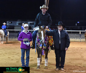 Topping not only the 7 and Up Non Pro but also the 7 and Up Open classes in his first show back on Australian soil, after competing in the U.S, the Stallion Lil Nu It All and his owner Dennis Neylon stand proud.
