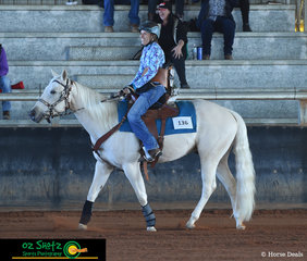 With a heart warming smile on her face and stepping into the reining arena for the first time since her life changing accident was Vicki Walters and she rode the ever reliable MD Hankering For A Desti at the Pacific Coast Reining Spectacular.