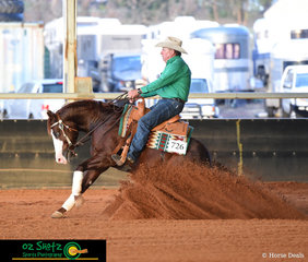 Warren Backhouse and NPH Gunner Be A Good Nit compete in the Beginner Horse Open on day two of the Pacific Coast Reining Spectacular.