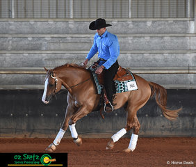 Riding in the Lachlan Bell Memorial Ride at the Pacific Coast Reining Spectacular was Kane Masters and Ruf Nite In Hollywood.