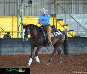 Graeme Bell and Down N Boogie grace the arena to honour his late son, in the Lachlan Bell Memorial Ride at the Pacific Coast Reining Spectacular.