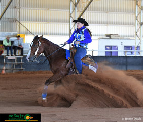 Only in her second year of reining, riding the 10 year old horse Destiny's Chance, which she has trained herself Vanessa Southey performs an awesome stop in the Rookie Level 1 and Level 2 class.