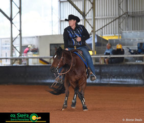 Proving their great connection together Trudy Stone and Hes A Hollywood Doc run around the arena in the Green Rider Level 1 and Level 2 class at the Pacific Coast Reining Spectacular.