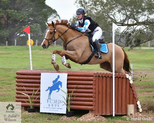 Airlia Munn is pictured making a lovely jump aboard her Thoroughbred gelding, 'Shake My Hand' by Dubai Destination (USA). They posted a clear Off The track CCI2*-L cross country run.