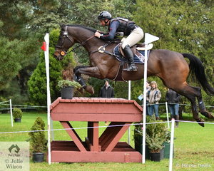 Dean Morris from Queensland added just 0.8 of a time penalty during his cross country run aboard the Thoroughbred gelding, 'Shaabam'. They hold 16th place in the Off The Track CCI2*-L.