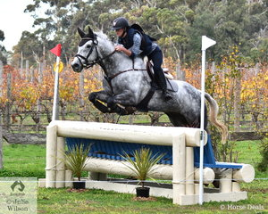 Madison Simpson from Queensland held on to her dressage lead in the Off The Track CCI2*-L .. with a clear cross country run aboard her,'Tiraumea Sportsman'.