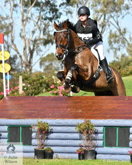 Charlotte Flood posted a good clear aboard her General Nediym Thoroughbred gelding, 'Collude With Me' and hold seventh place in the Off The Track CCI2*-L Junior .
