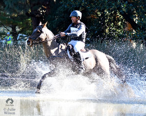 Experienced and successful Victorian eventing rider, Murray Lamperd makes a splash through the Werribee Park Mansion Lake with his, 'Sebastian' by Don Skipcello. They added just time penalties on their cross country run to hold tenth place heading in to the final phase tomorrow.