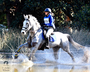 Sarah Clark from South Australia and, 'Aremdale Donn Piatt' walk on water during their Horseware Australia CCI3* cross country run. They added just time penalties and moved from 29th to sixth place heading in to the final Horseware Australia CCI3* jumping phase tomorrow.