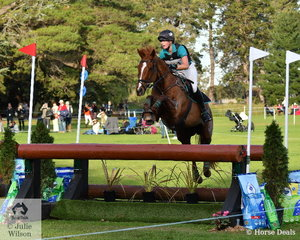 Kirilee Hosier and her Thoroughbred, 'Regal Red Jasper' hold eighth place after a good Horseware Australia CCI3* cross country run.