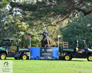 Matea Davidson from Queensland produced some lovely jumping aboard the Davidson Equestrian and John Brady owned, 'APH Charlie Brown'. They are pictured during their Pryde's Easifeeds CCI4*-L cross country run.