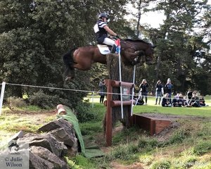 Victorian rider, Andrew Cooper adopts the safty seat aboard, 'Oaks Onyx' over the Rider Video Ha Ha obstacle on the Pryde's Easifeeds CCI4*-L cross country course. They added just 3.2 time penalties and moved from 19th after the dressage to fourth place heading in to the final jumping phase tomorrow.