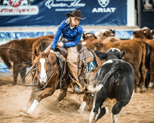 Julie Jones and 'Hard Hat Ashlee' with a 210pt run in the Final of the Non Pro Futurity to secure 4th place