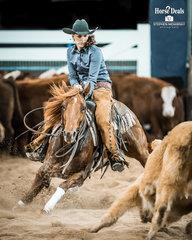Lindsey Wheatley and 'Petas Sugar Rae' mark a 212pt run in the final of the SDP Buffalo Ranch Open Futurity