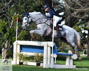 Eliza Harvey and  'Evergem Perfection'  performed well during their Horseware Australia CCI3* cross country run. They added just 1.6 time penalties to move from 15th to first place heading in to the final jumping phase tomorrow.