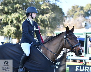 Charlotte Flood and her, 'Collude With Me' finished on their dressage score to take second place in the Off The Track CCI2*-L Junior. Collude With Me is pictured wearing his trophy rug for winning the Best Performed Off The Track Thoroughbred in the Off The Track CCI2*-L Junior.
