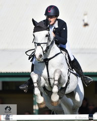 Chelsea Priestley is pictured aboard Isobel O'Loughlin's talented jumper, the 20 year old 'Skansen Purist' by Purioso that jumped clear in the final phase of the Pryde's Easifeed CCI4*-L.