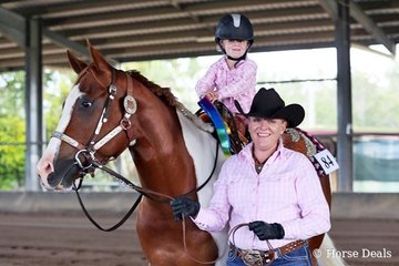 A happy MacKenzie Carter was the winner of the Leadline (3 to 6 Year Old) riding Rosewoods Final Kiss