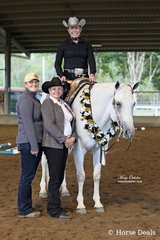 Emma Woinarski rode Tally S Fiftyshadesofgrey to take out the All Age Trail Spectacular Jackpot Feature. She is pictured here with the judge for the show, Debra Watson, and the garland sponsor, Vicki McNamara. Tally S Fiftyshadesofgrey went on to be the High Point Senior Horse of the Show