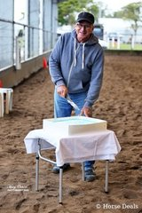 """Celebrating a birthday at the MDWPC Western Spectacular was renowned saddler, Geoff Hutson of Oz-West Saddlery. And """"yes"""" the cake was yummy!"""