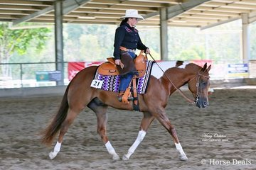 Kerrie Sampson & Widowers Web Maker swing into an extended trot on their way to winning the Select Amateur Ranch Riding class