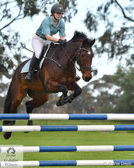 Paige McBain from Geelong Grammer School rode 'Yalambi's Cambridge' to fourth place in the Level 7 Stars Art. 238.2.1.