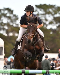 Cohen Wade from Catholic College Sale rode 'Miss Delfyne' to third place in the  Level 6 Advanced Art. 238.2.1.