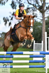 Alanna Malkoc from Toorak College rode 'Caballo Castano' to fourth place in the Level 5 Intermediate Art. 238.2.1.