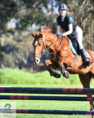 Ashleigh Rodgers from The Geelong College makes a nice jump aboard 'Kenny' in the Level 3 Improvers Grand Prix.