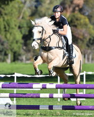 Friederike Burkhardt from Melbourne Girls Grammar rode 'Balmattum Park Dolly' to sixth place in the Level 3 Improvers Grand Prix.