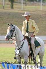 A peaceful time after placing in the Australian Pleasure class 'Cooroora Aheyme' ridden by Jacqueline Richards